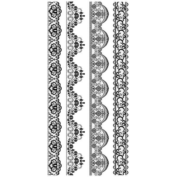 Feinkontur-Stempel, einzelne Motive auf Trägerfolie, Spitzenbordüren