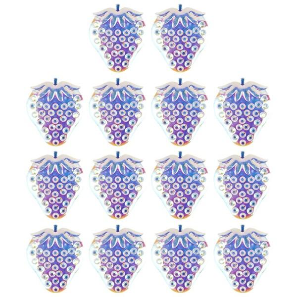 Kristallkunst-Schmucksteine, Erdbeere, 2,8cm x 3,3cm, transparent, klar, irisierend, 14 Stück
