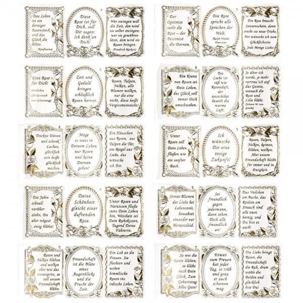 Gravur-Stickerbogen, 30 Rosen-Poesie Sprüche