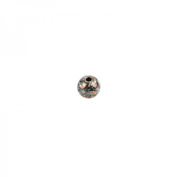 Perlen, Rund, marmoriert, Ø 0,8cm, kupfer mit grüner Patina, 230 Stück