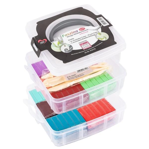 Faszina Soft, Modelliermasse, 18 Farben, 5 Werkzeuge, je 55g, ofenhärtend, 23-teilig