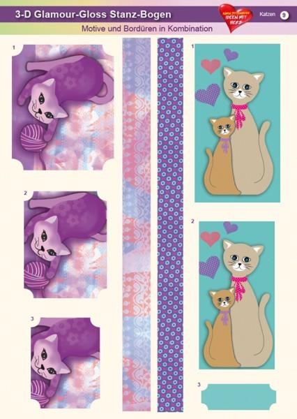 3-D GlamourGloss Bogen, Katzen, DIN A4, Motiv 9