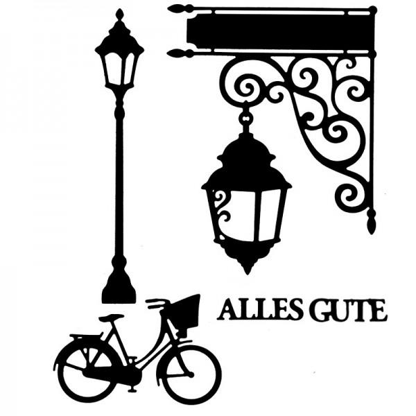 Stanzschablonen, Laterne & Fahrrad, 4 Stück