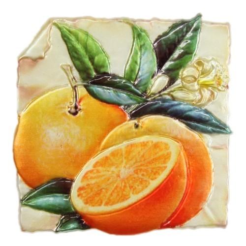 Wachsornament, Orangen, farbig, geprägt, 7,5x7,5cm