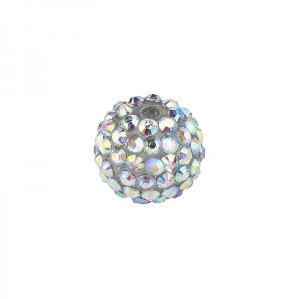 Kristall-Perlen, Ø14 mm, 10 Stück, klar-irisierend