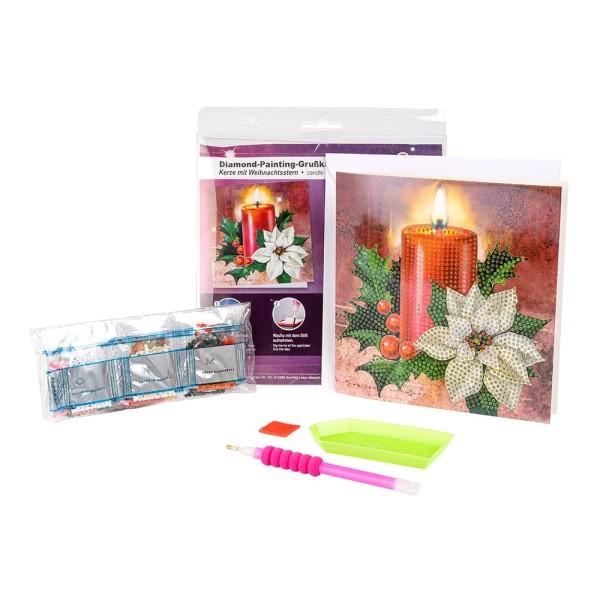 Diamond-Painting-Grußkarte, Kerze mit Weihnachtsstern, 16 x 16cm, 370g/m², inkl. Umschlag & Werkzeug