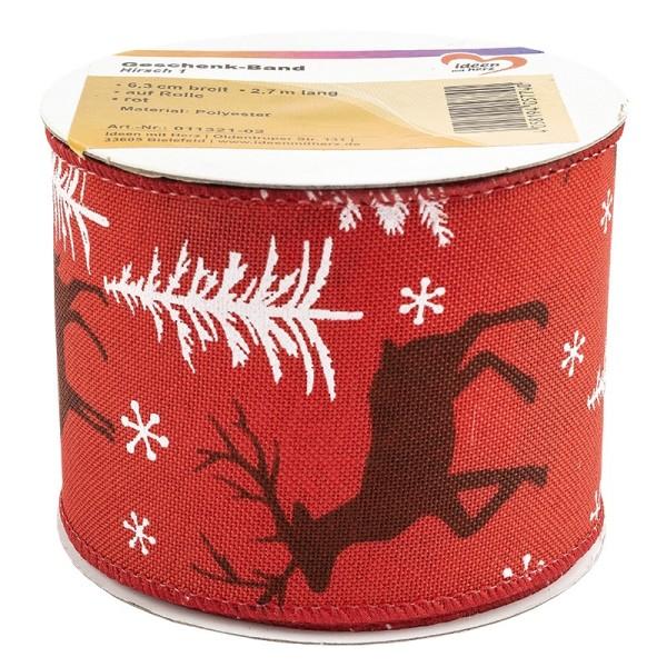 Geschenk-Band, Hirsch 1, 6,3cm breit, 2,7m lang, auf Rolle, rot