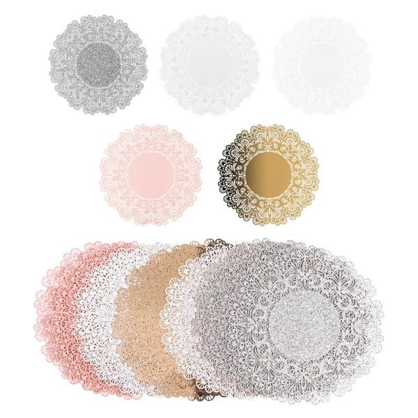 Laser-Kartenaufleger, Zierdeckchen, Ornament 19, Ø 14cm, 220 g/m², 5 Farbtöne, 20 Stück