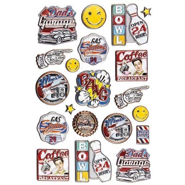 Relief-Sticker, Retro 1, 14cm x 21cm, 20 Sticker