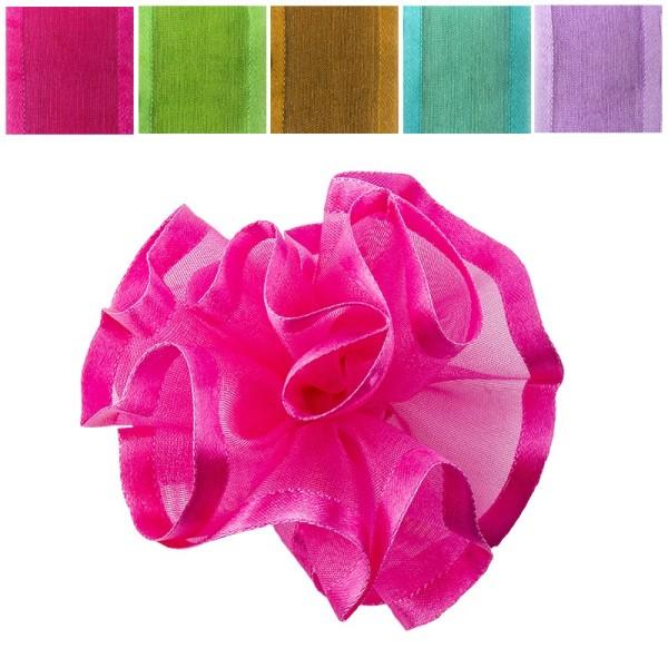 Zieh-Rüschen, Organza mit Satinkante, Pastell-Farben, 1m x 3,8cm, 10 Stück