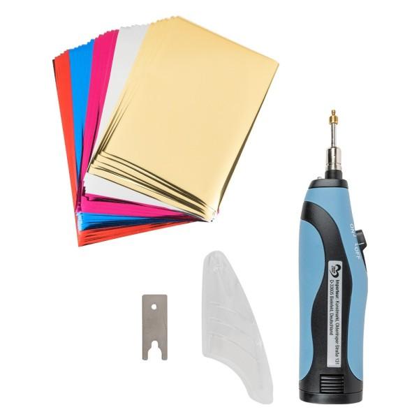 Heißprägestift, tragbar, schnelles Erhitzen, ergonomisches Design, inkl. Folienblättern in 5 Farben