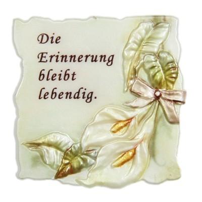 """Wachsornament Trauer, """"Die Erinnerung bleibt lebendig"""", 7x7cm"""
