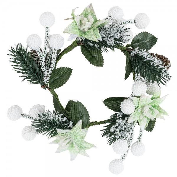 Deko-Kranz, Weihnachten 6, innen: Ø 7,5cm, außen: Ø 13cm, beschneit, mit Tannenzapfen