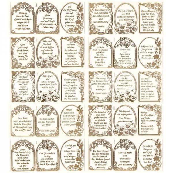 Gravur-Sticker, 30 herzliche Genesungswünsche, 10 Bogen
