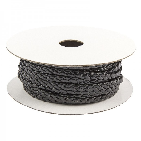 Deko-Band, geflochten, 5m lang, 0,3cm breit, schwarz