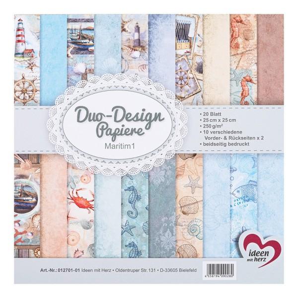 Duo-Design-Papiere, Maritim 1, beidseitig bedruckt, 25cm x 25cm, 250g/m², 20 Blatt