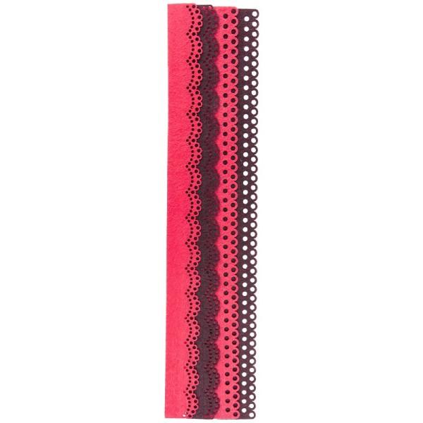 Folia Filzbordüren, rosa & braun, 30cm, 4 Stück