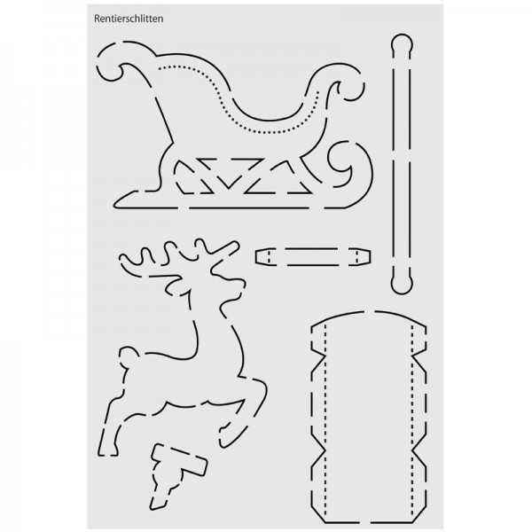 """Design-Schablone Nr. 3 """"Rentierschlitten"""", DIN A4"""
