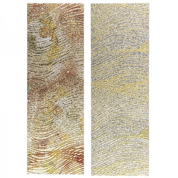 "Stoffe Royal ""Schwung-Design"", selbstklebend, 10 x 29 cm, 2 Stück, gold & silber"