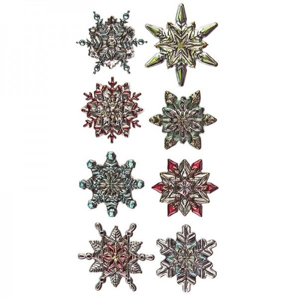 Relief-Sticker Weihnachten, Eiskristalle 2, 17,5cm x 9cm