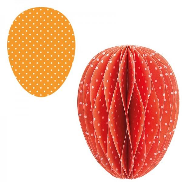 Waben-Stanzteile, Osterei, orange/weiß gepunktet, 5,5cm x 7,5cm, 100 Stück