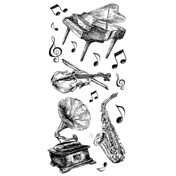 Feinkontur-Stempel, einzelne Motive auf Trägerfolie, Musik