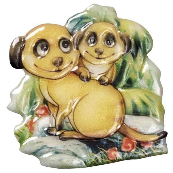Wachsornament Erdmännchen 5, farbig, geprägt, 7-8cm