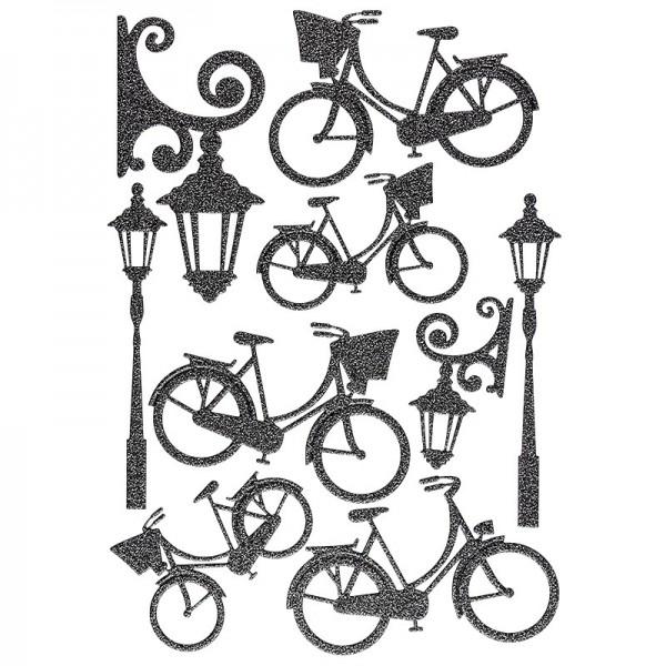"""3-D Sticker """"Deluxe Fahrräder & Laternen"""", verschiedene Größen, selbstklebend, schwarz"""