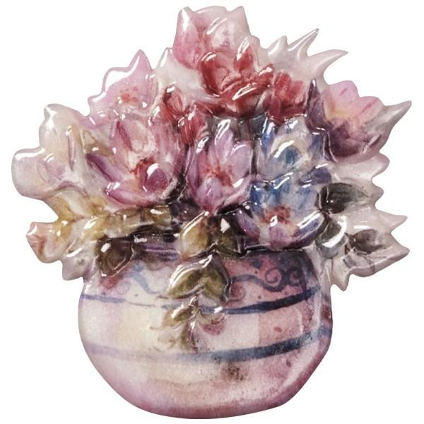 Wachsornament Blumenvasen 9, farbig, geprägt, 7cm
