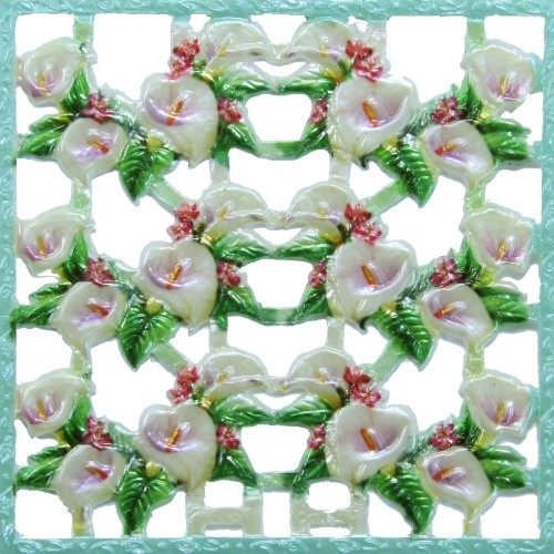 Wachsornament-Platte Callas, farbig, geprägt, 10x10cm