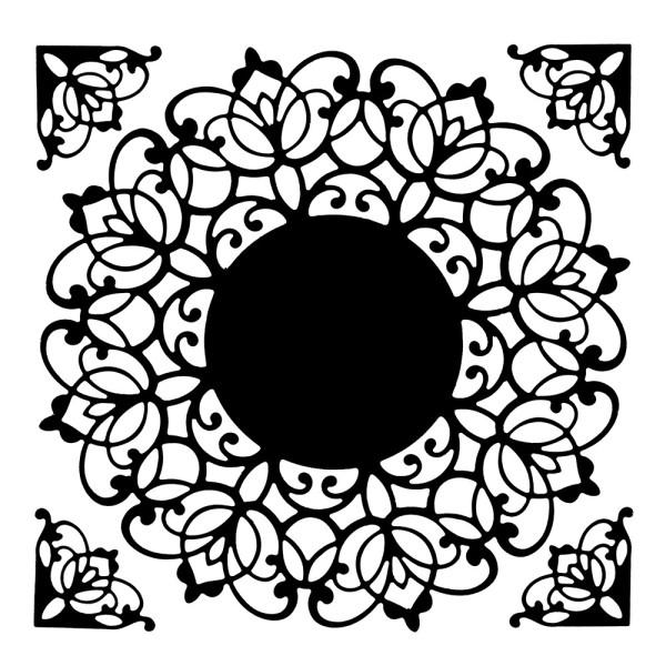 Stanzschablonen, Zierdeckchen mit Eckornamenten 3, 5 Stück