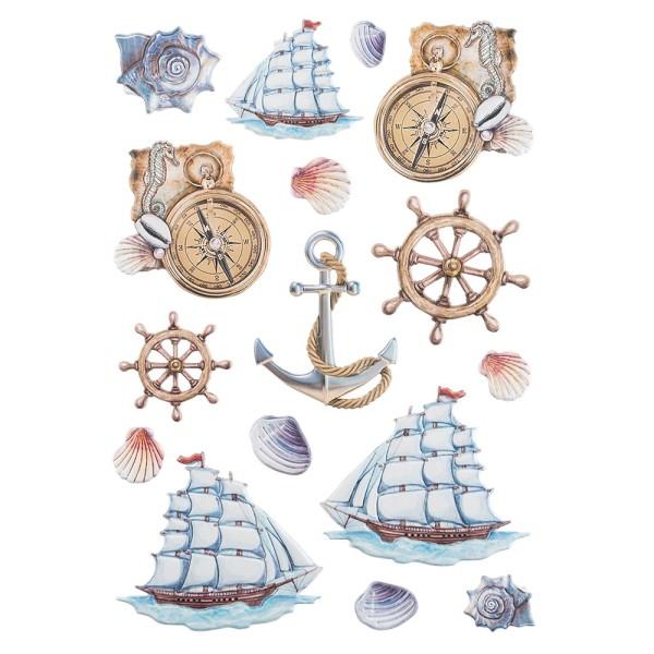 3-D Relief-Sticker, Maritim, Segelschiff, verschiedene Größen, selbstklebend