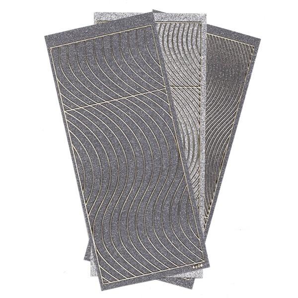 Microglitter-Sticker, Schwung-Linien, 3 Bogen, silber