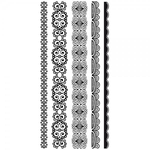 Feinkontur-Stempel, einzelne Motive auf Trägerfolie, Bordüren