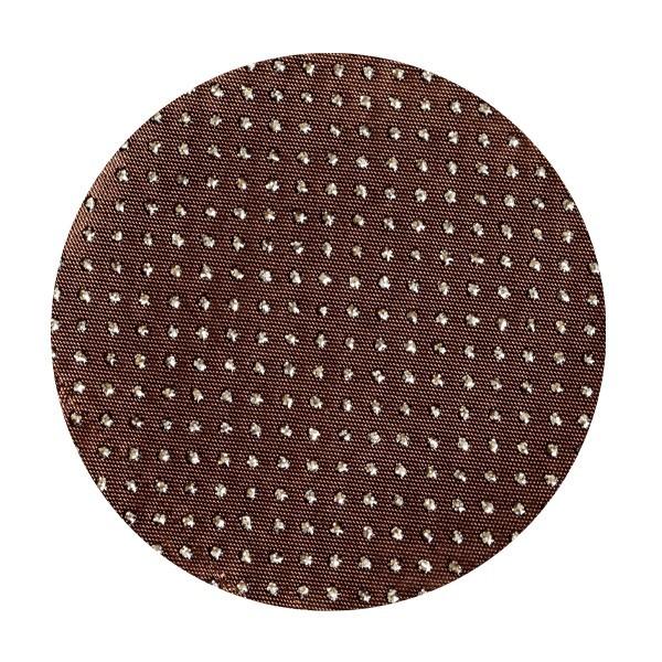 Satin-Kreise, Ø6cm, 50 Stück, Glitzer-Perlen, mocca