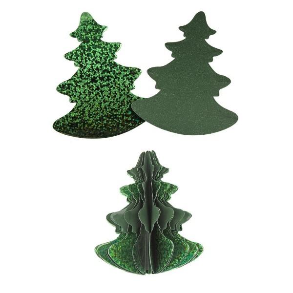 Waben-Stanzteile, Tanne, holografie-grün/grün, 7cm x 8,5cm, 100 Stück