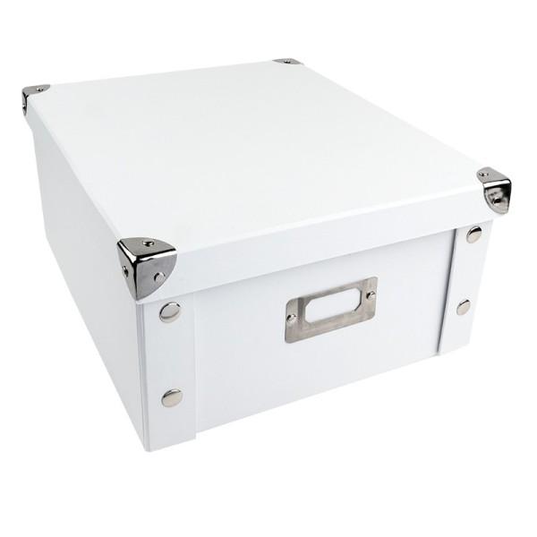 Ordnungsbox, faltbar, mit Deckel, 31cm x 26cm x 14cm, weiß