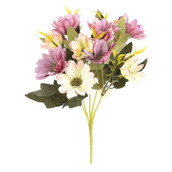 Blütenbusch, Margeriten, 28cm hoch, 10 große Blüten Ø 4cm, Violetttöne