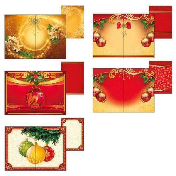 """Motiv-Grußkarten für Waben-Objekte """"Weihnachtskugeln"""", B6, inkl. Umschläge, 10 Stück"""
