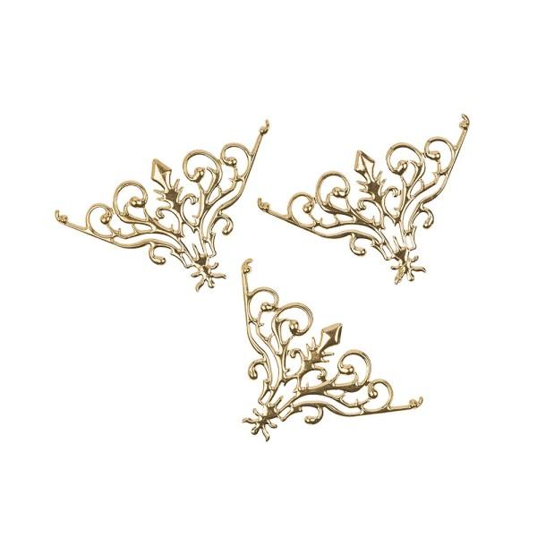 Metall-Ornamente, Design 29, 7,7cm x 4,8cm, hellgold, 3 Stück