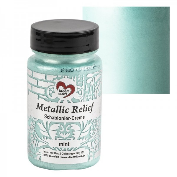 Metallic Relief, Schablonier-Creme, mint, 90ml