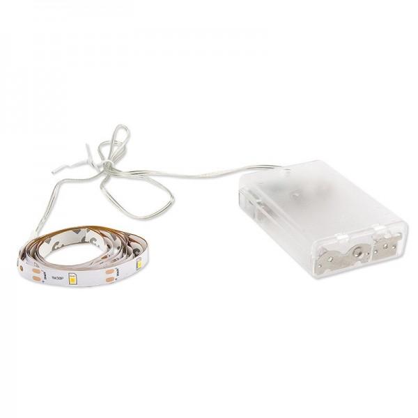 LED-Lichterband, selbstklebend, warmweiß, inkl. Timer, 30er, 1 m, 50 cm Kabelzulauf