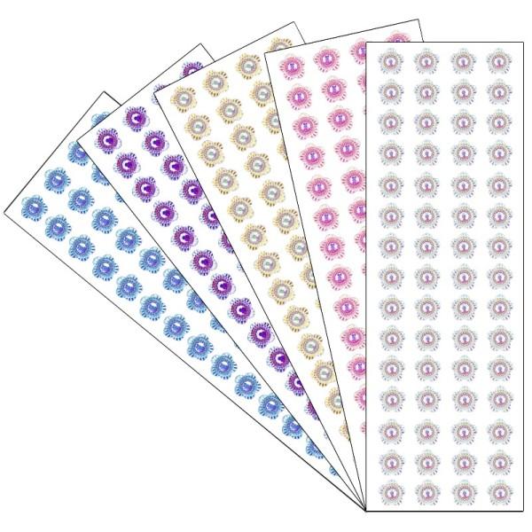 Kristallkunst, Schmuckstein Blüte 9, 10cm x 30cm, selbstklebend, verschiedene Farben, 5 Stück