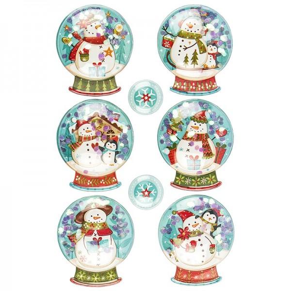 3-D Sticker, Schneekugeln, 14cm x 21cm, mit Bolblister und Schneeflocken