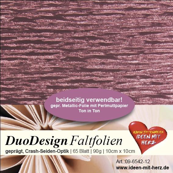 DuoDesign Faltfolien, Seiden-Optik, 10cm x 10cm, 65 Blatt, mauve
