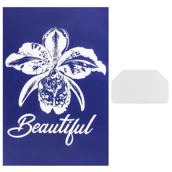 Siebdruckschablone Orchidee, 32,5cm x 22,5cm, selbstklebend, inkl. Rakel
