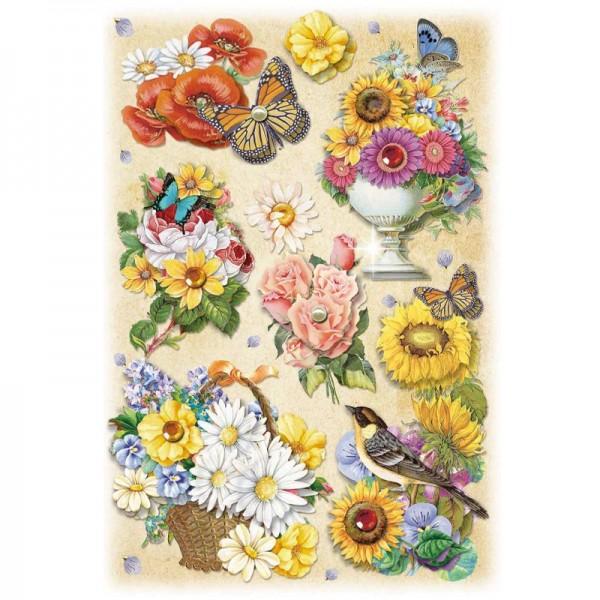 3-D Stickerbogen, Gartenblumen 2, 12,7 x 18,8 cm