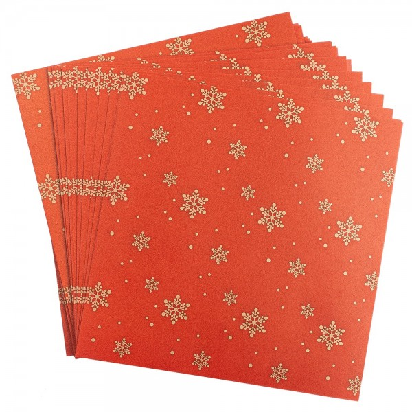 Faltpapiere, transparent, Eiskristalle, 15cm x 15cm, 110 g/m², rot/gold, 100 Stück