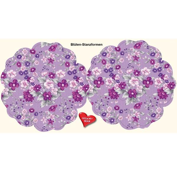 Blüten-Stanzbogen, 2 Blüten, Ø15cm, flieder, 6er Set