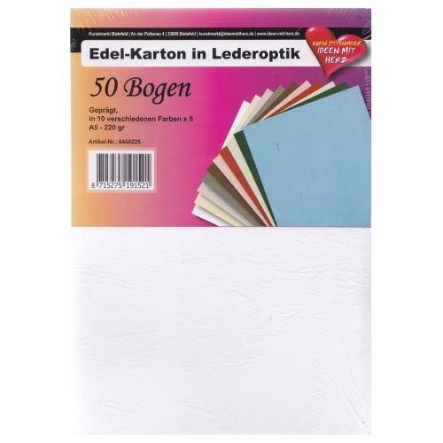 Edel-Karton in Lederoptik, DIN A5, 10 Farben, 50 Bogen